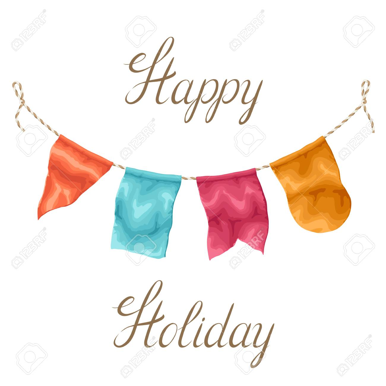 Happy Holiday Greeting Card Garland Of Flags Royalty Free Cliparts