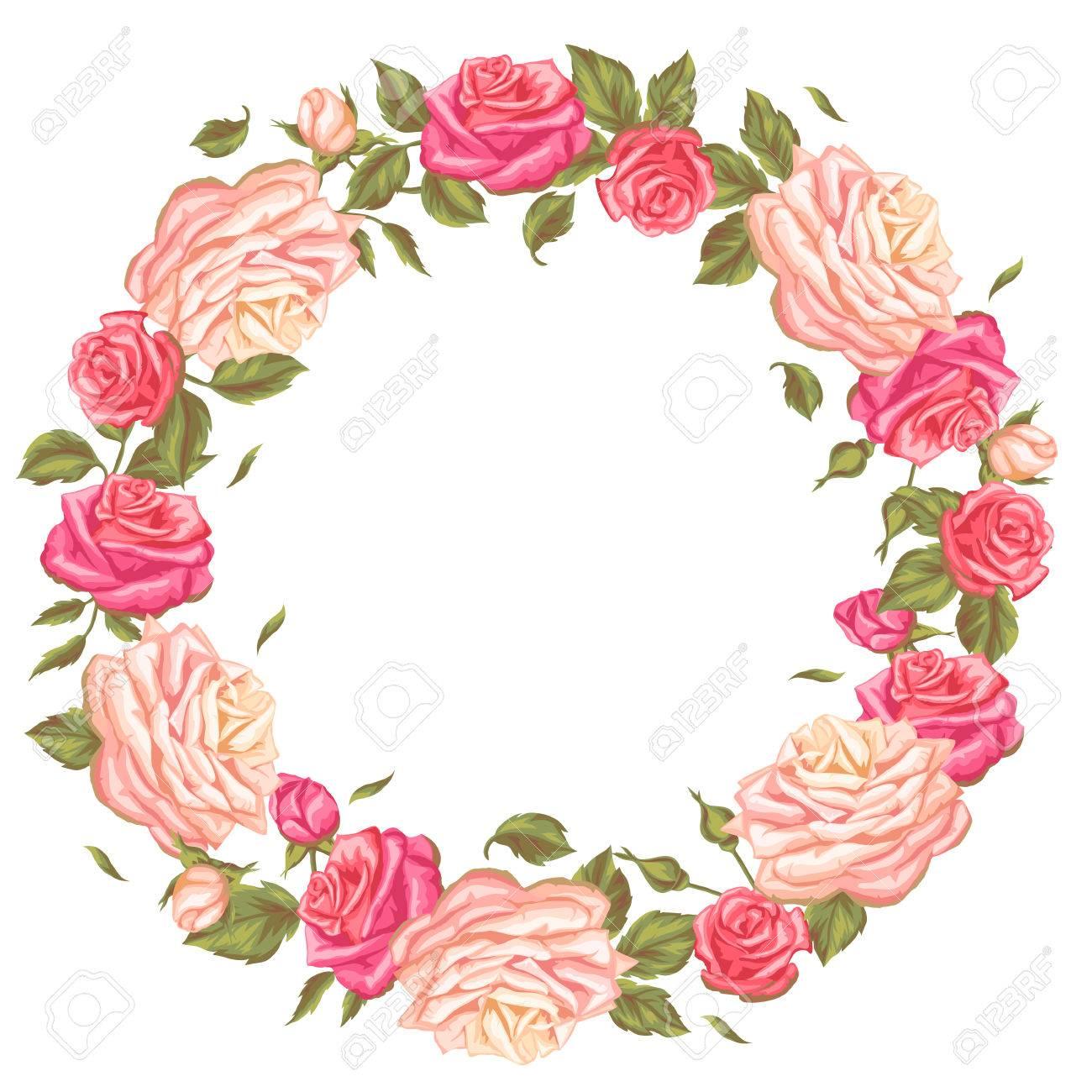 Rahmen Mit Weinleserosen. Dekorative Retro Blumen. Bild Für ...