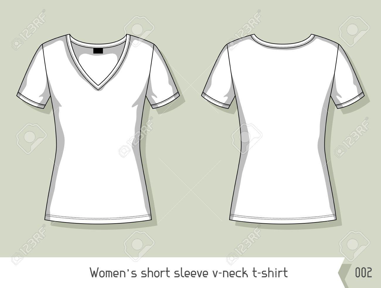 Women Short Sleeve V Neck T Shirt Template For Design Easily