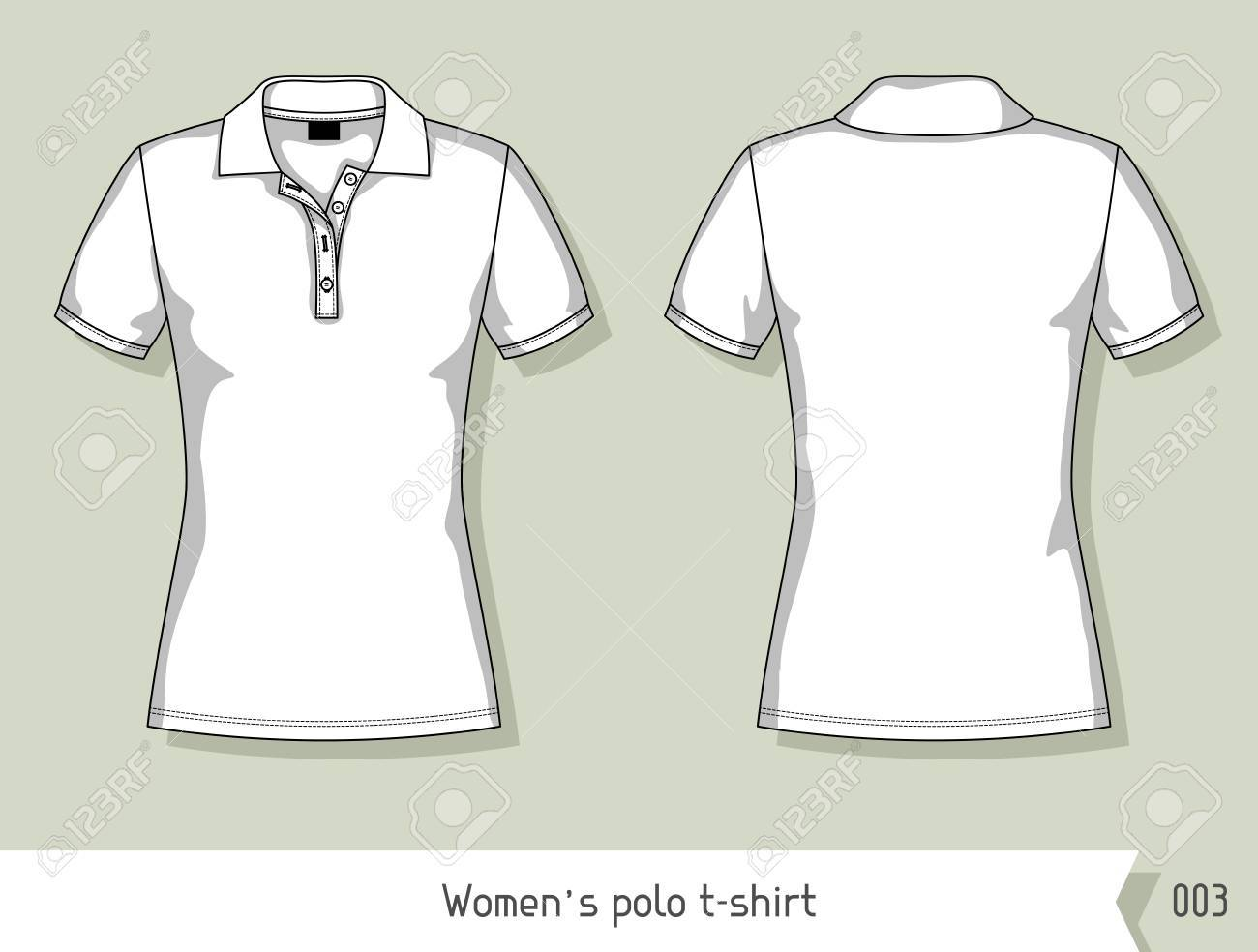 women polo t shirt template for design easily editable by layers