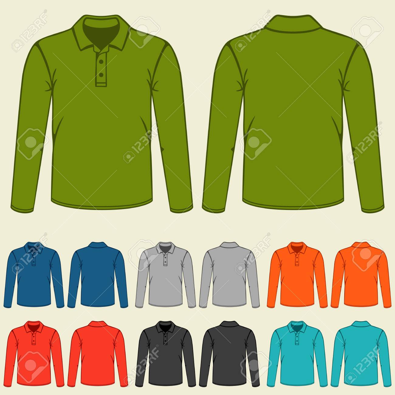 Set Of Colored Polo T-shirts Templates For Men. Royalty Free ...