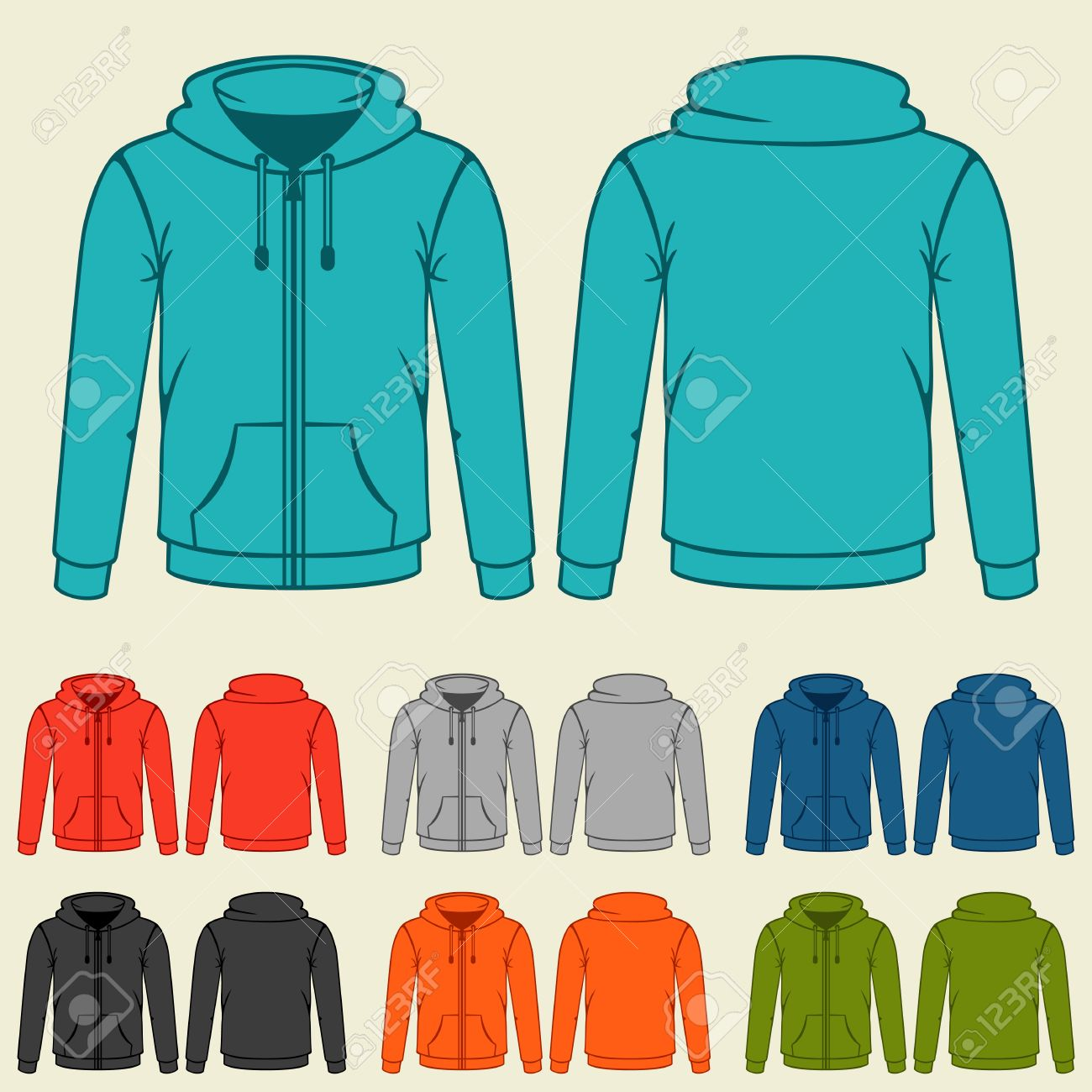 Set Of Colored Hoodies Templates For Men. Royalty Free Cliparts ...