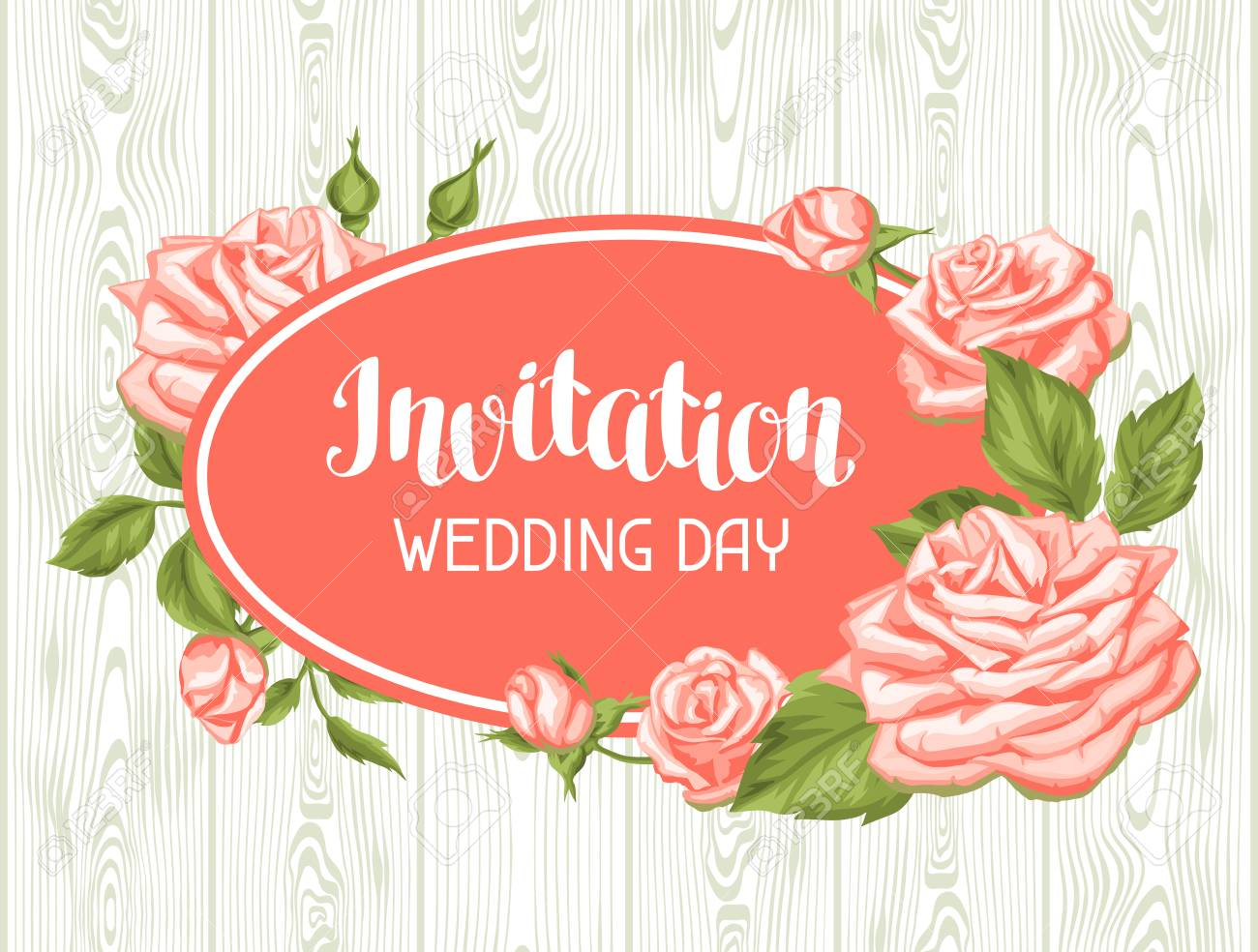 Wedding Invitation Card Template With Roses. Calligraphic Text ...