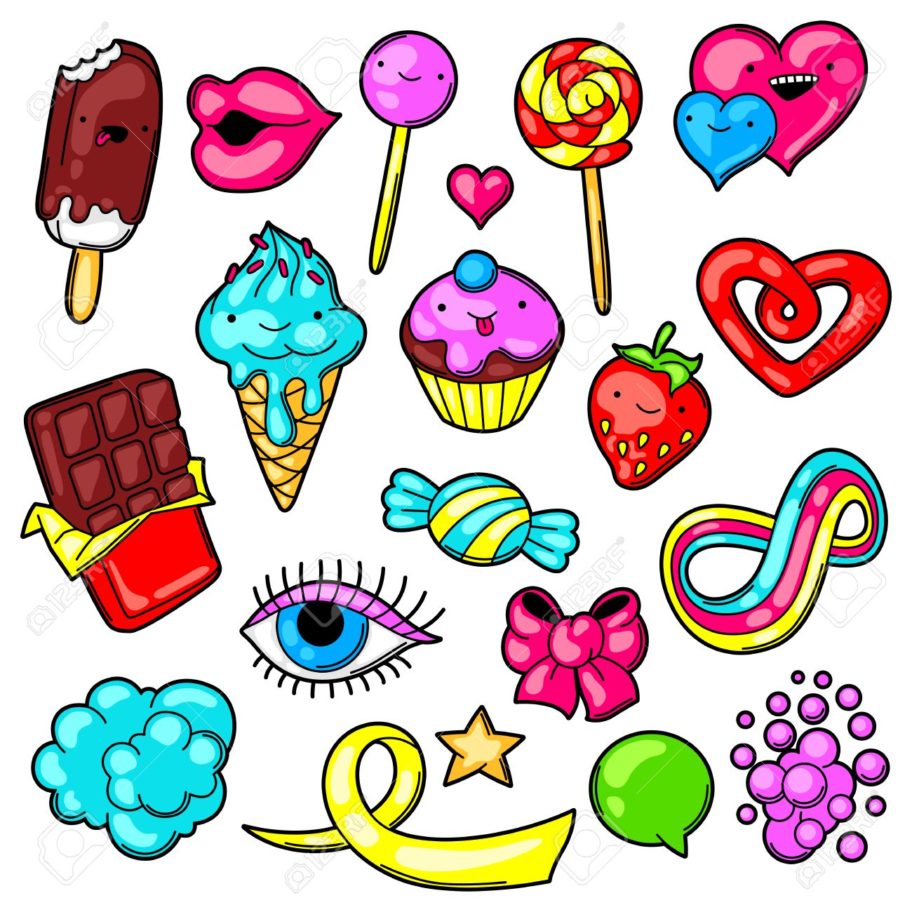Ensemble De Bonbons Et Bonbons Kawaii Crazy Sweet Stuff En Style Dessin Anime Clip Art Libres De Droits Vecteurs Et Illustration Image 66153546