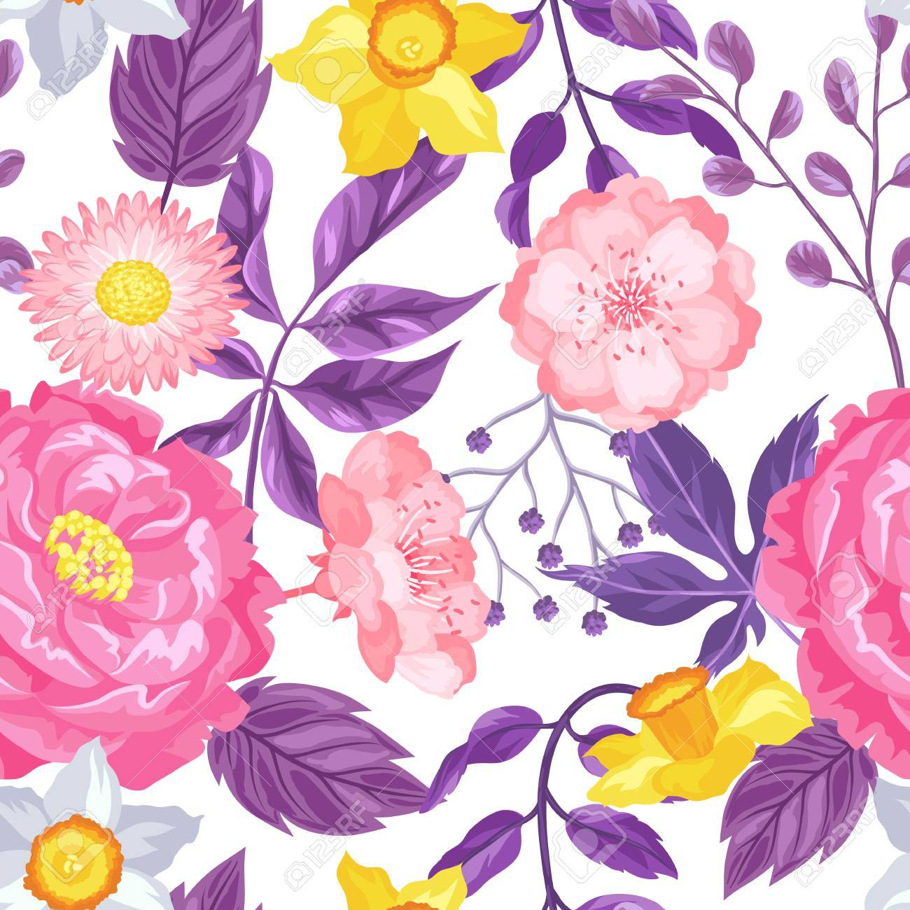 Seamless pattern with decorative delicate flowers easy to use seamless pattern with decorative delicate flowers easy to use for backdrop textile wrapping mightylinksfo