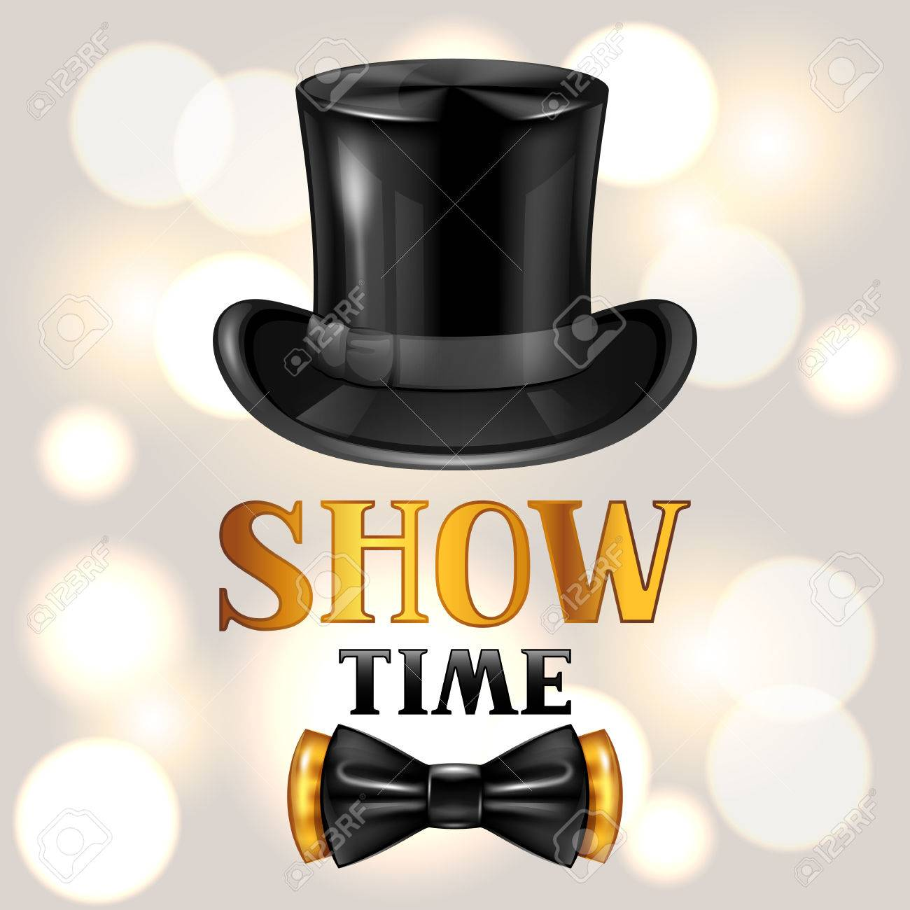 Show time card with cylinder and bow tie. Invitation to entertainment. - 67193158