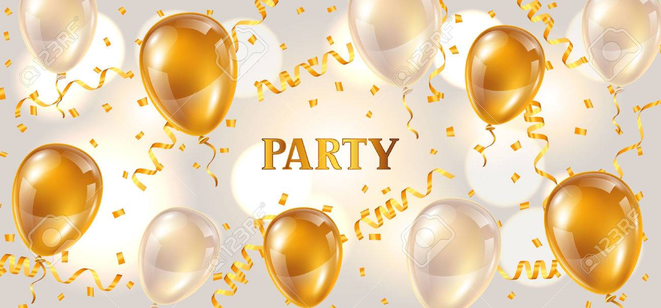 Celebration Party Banner With Golden Balloons And Serpentine ...