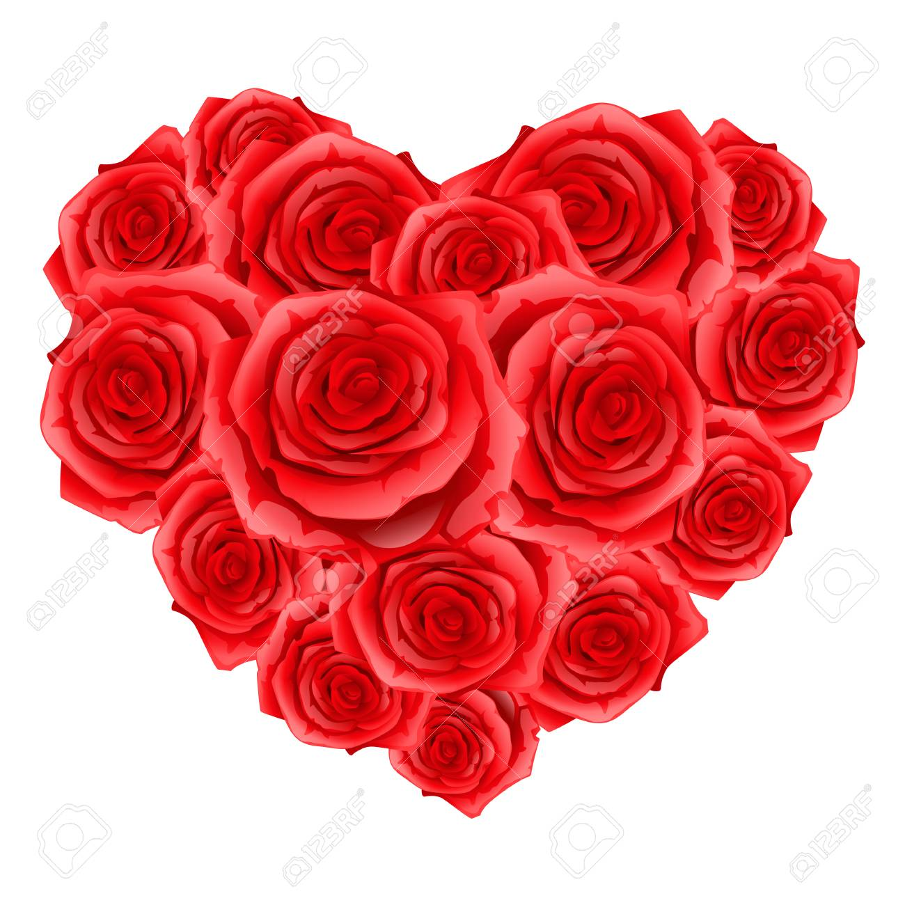 Heart Of Red Realistic Roses Happy Valentine Day Greeting Card