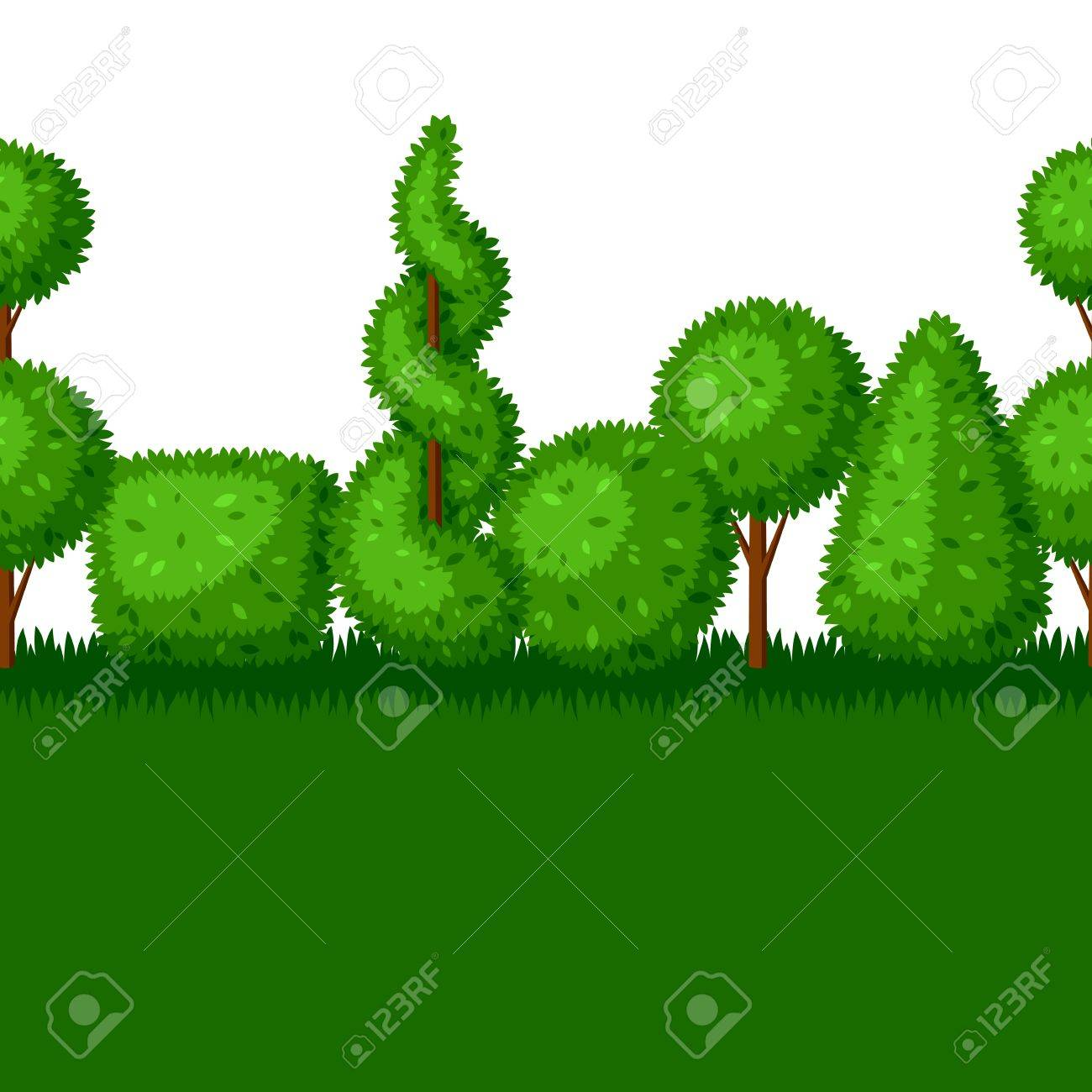 Boxwood Topiary Garden Plants. Seamless Border With Decorative ...