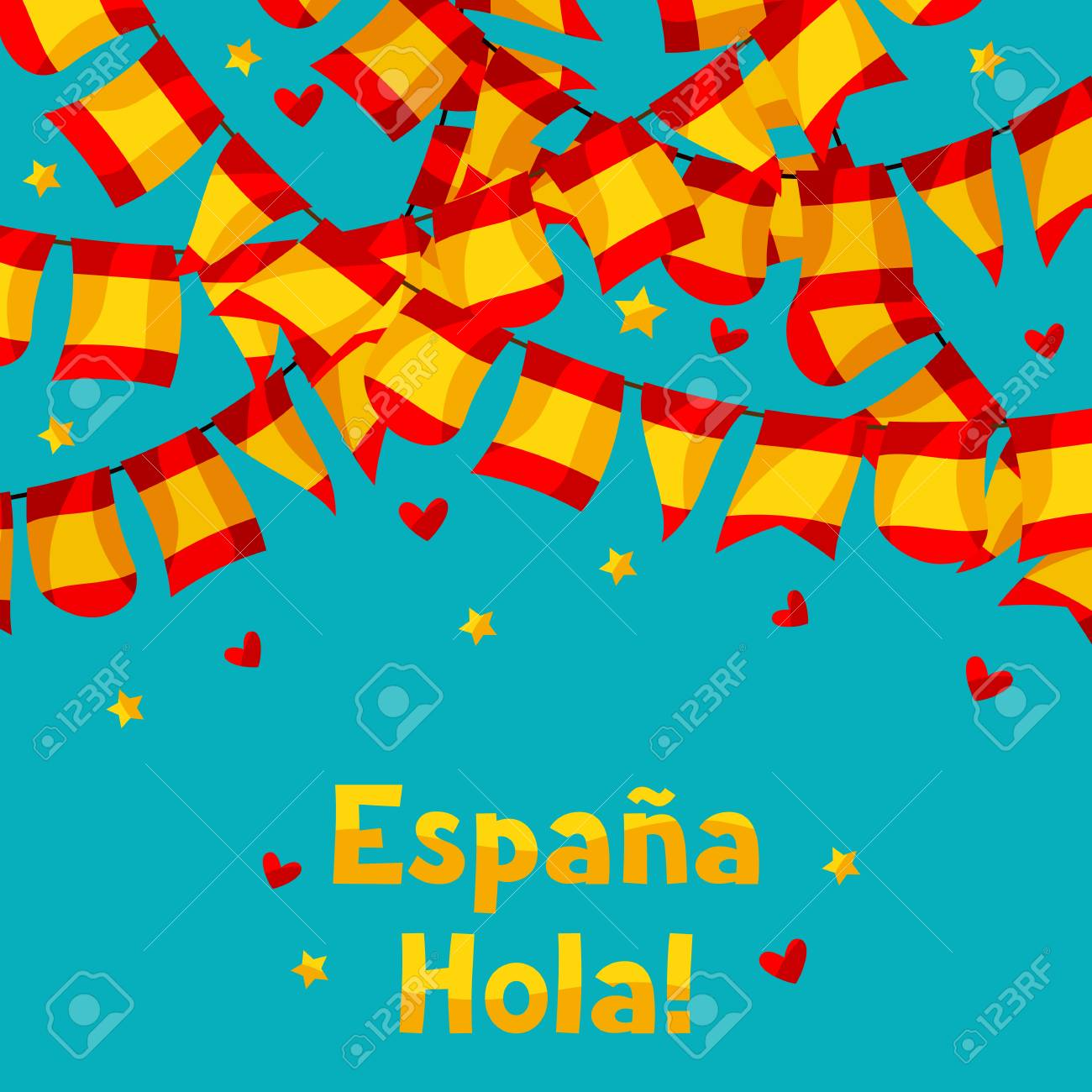 celebration background with garlands waving spanish flags royalty