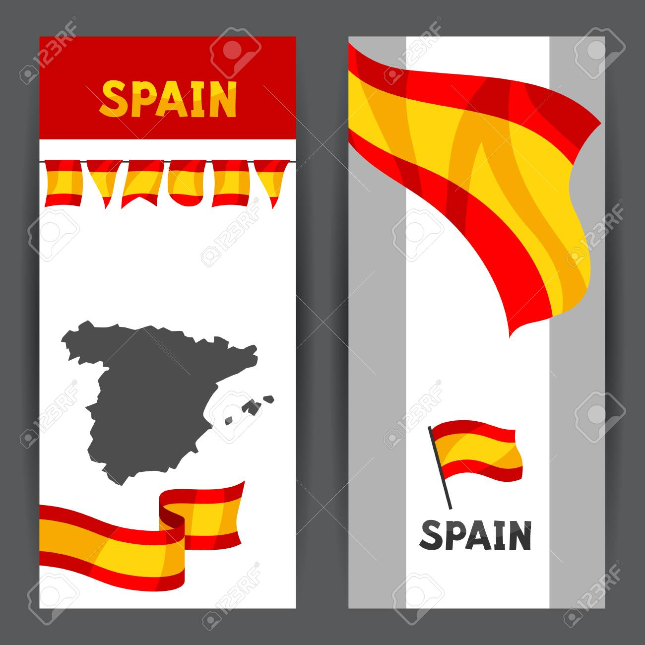 Spanish Map Of Spain.Banners With Flag And Map Of Spain Spanish Traditional Symbols