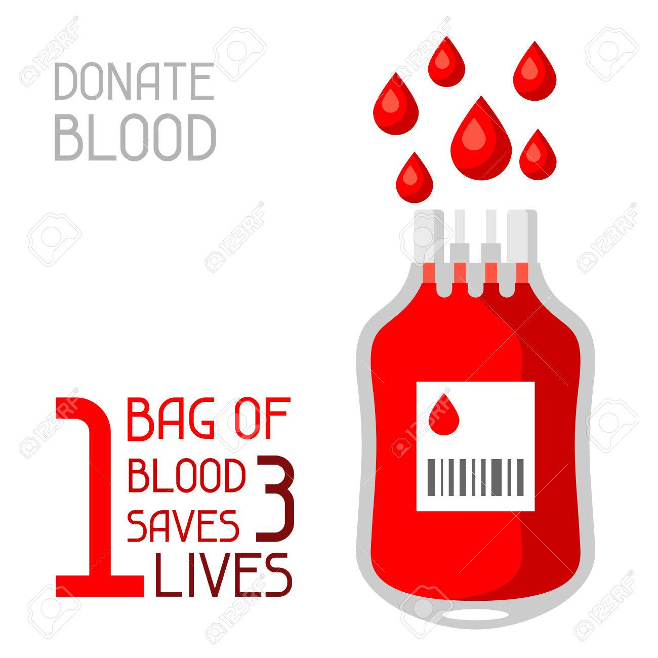1 bag of blood saves 3 lives. Medical and healthcare concept - 76343611