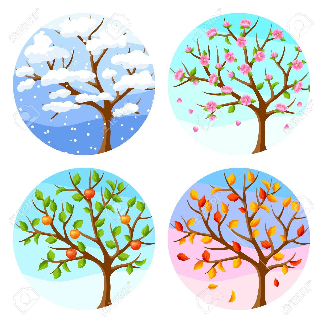 Hand Bemalt Aquarell Baum Mit Jahreszeiten 1