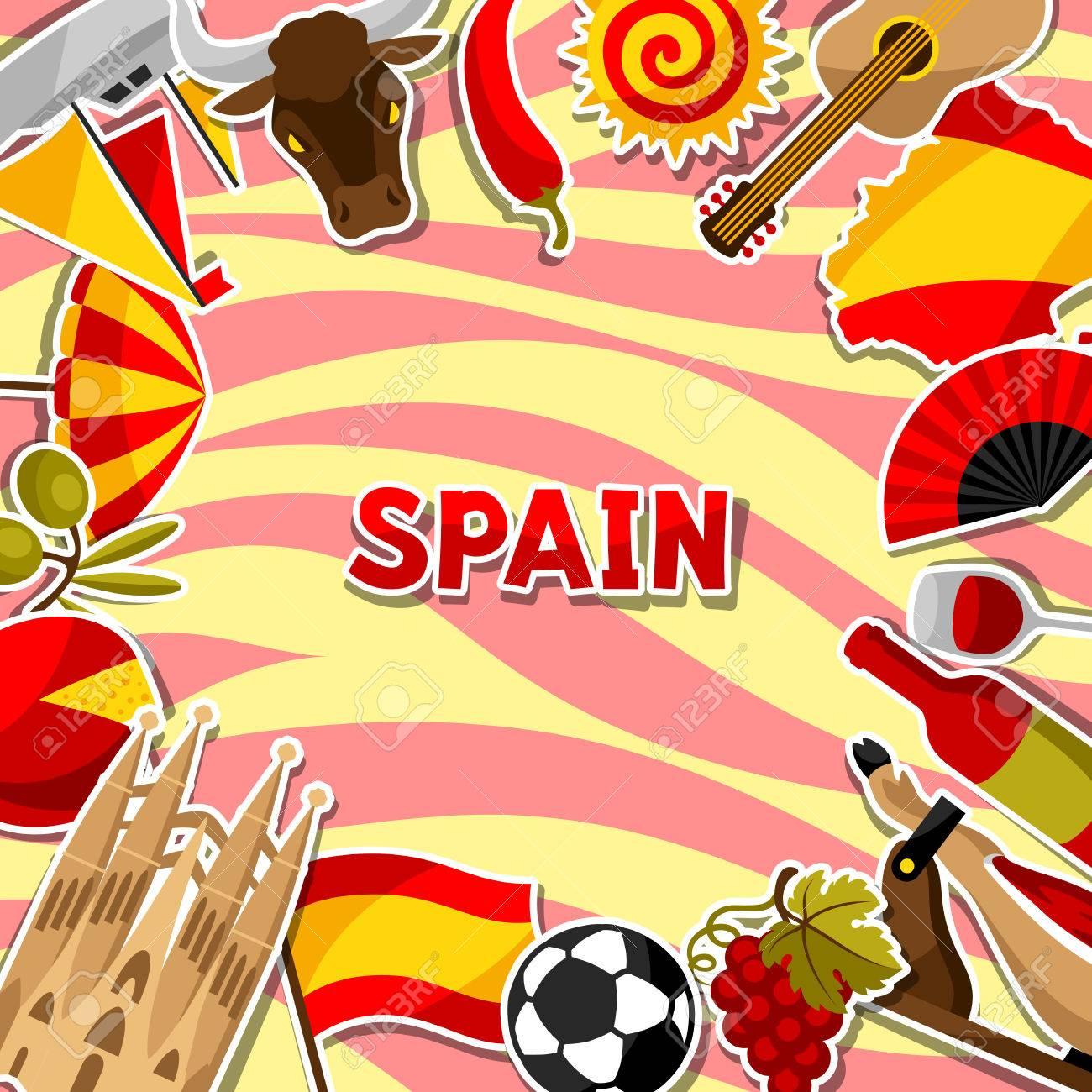 Spain background design spanish traditional sticker symbols spain background design spanish traditional sticker symbols and objects stock vector 76742887 voltagebd Gallery