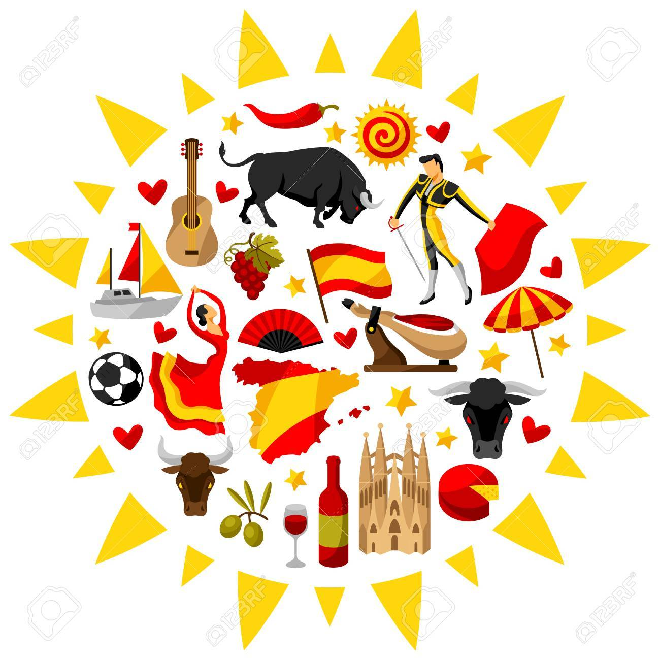 Spain background in shape of sun spanish traditional symbols spain background in shape of sun spanish traditional symbols and objects stock vector voltagebd Gallery