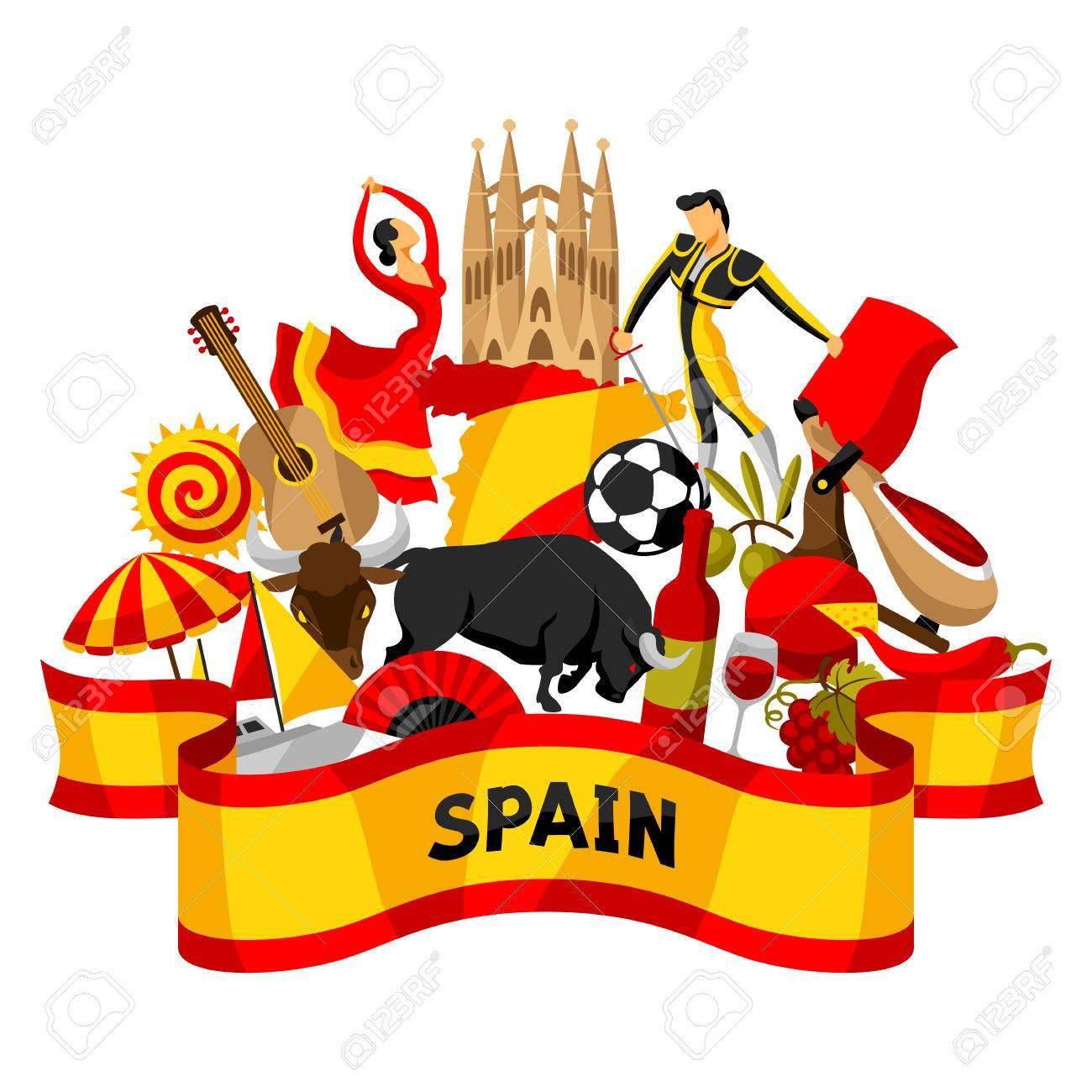 Spain background design spanish traditional symbols and objects spain background design spanish traditional symbols and objects stock vector 77105571 voltagebd Gallery