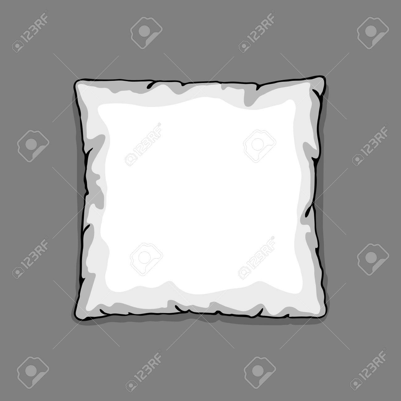 bed pillow template isolated on gray background sketch illustration