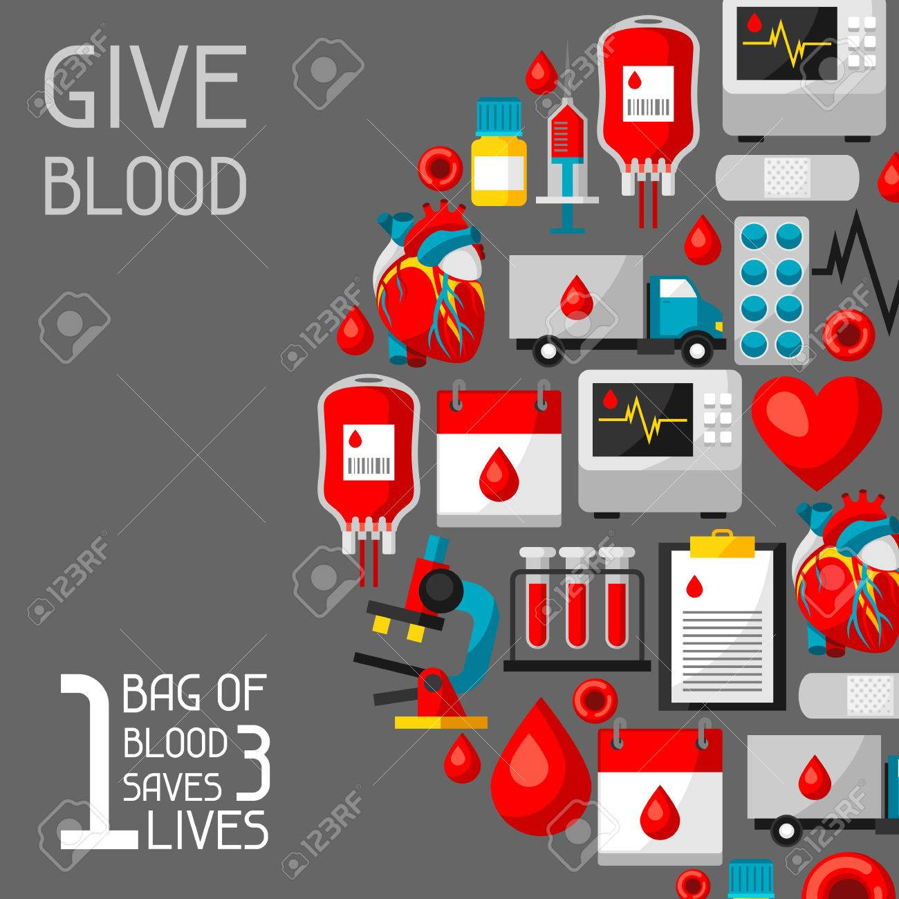 1 bag of blood saves 3 lives. Background with blood donation items. Medical and health care objects - 80319286