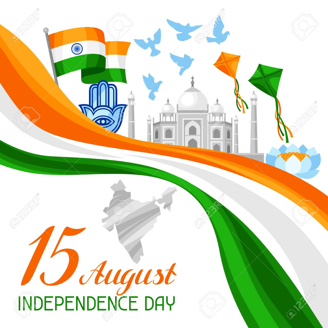 India independence day greeting card celebration 15 th of august india independence day greeting card celebration 15 th of august stock vector 81580222 m4hsunfo