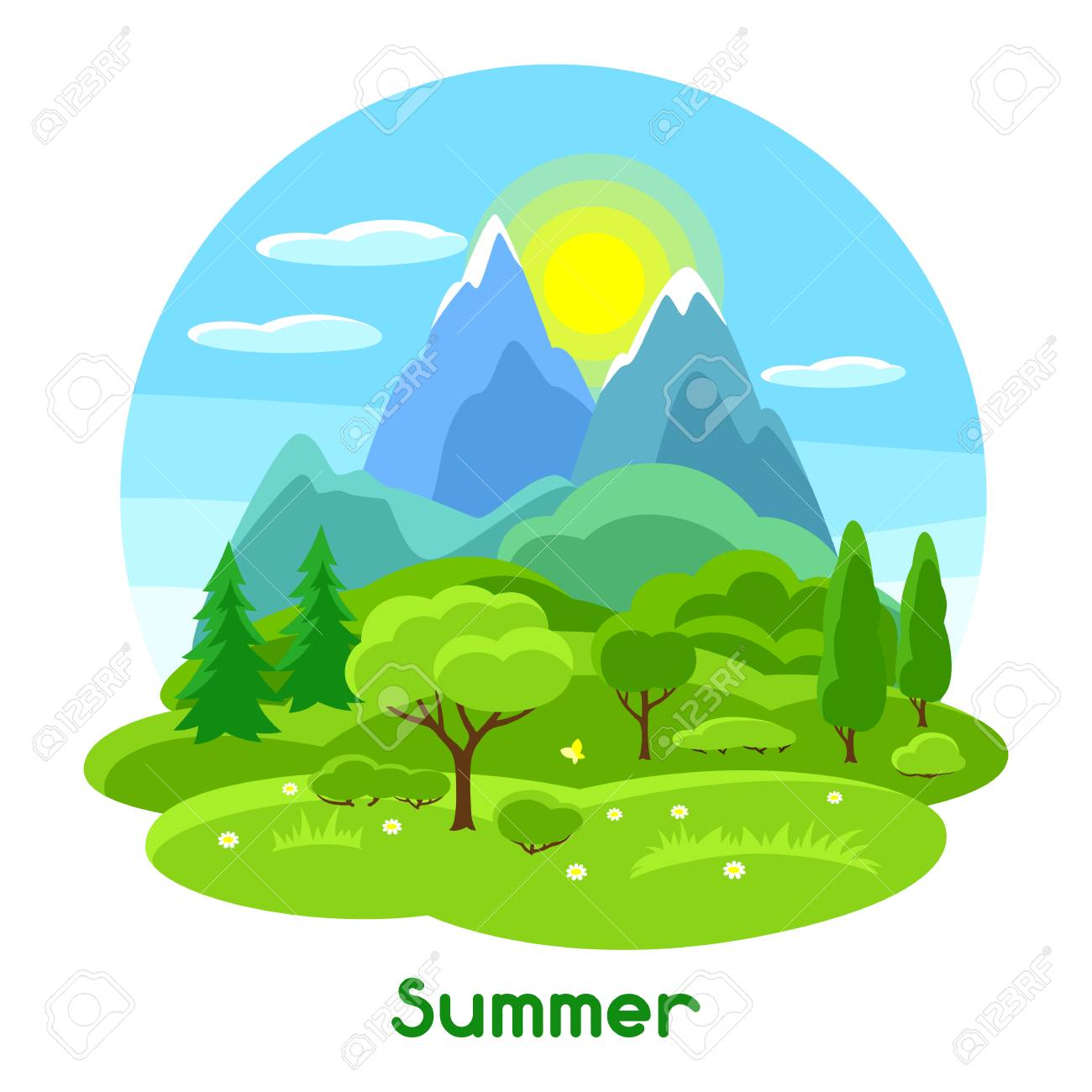 summer landscape with trees mountains and hills seasonal rh 123rf com