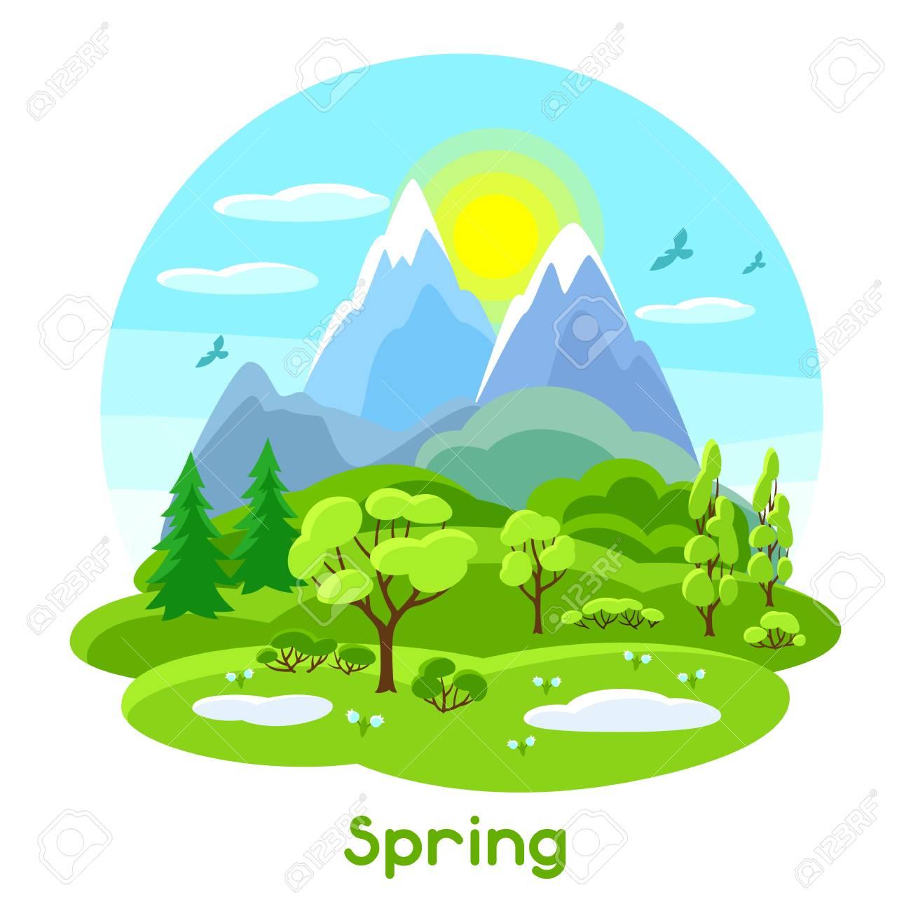木や山や丘の春の風景です季節のイラストのイラスト素材ベクタ