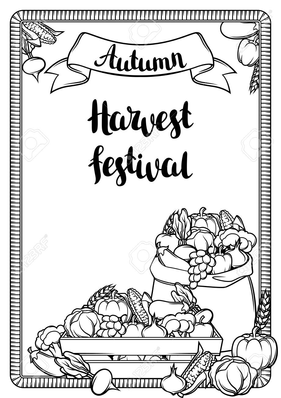 Harvest Festival Poster Autumn Illustration With Seasonal Fruits Royalty Free Cliparts Vectors And Stock Illustration Image 89317578