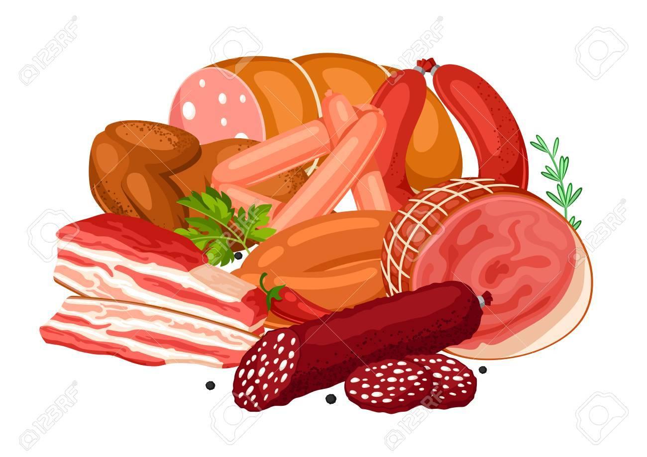 肉製品のイラストソーセージベーコンおよびハムのイラストのイラスト