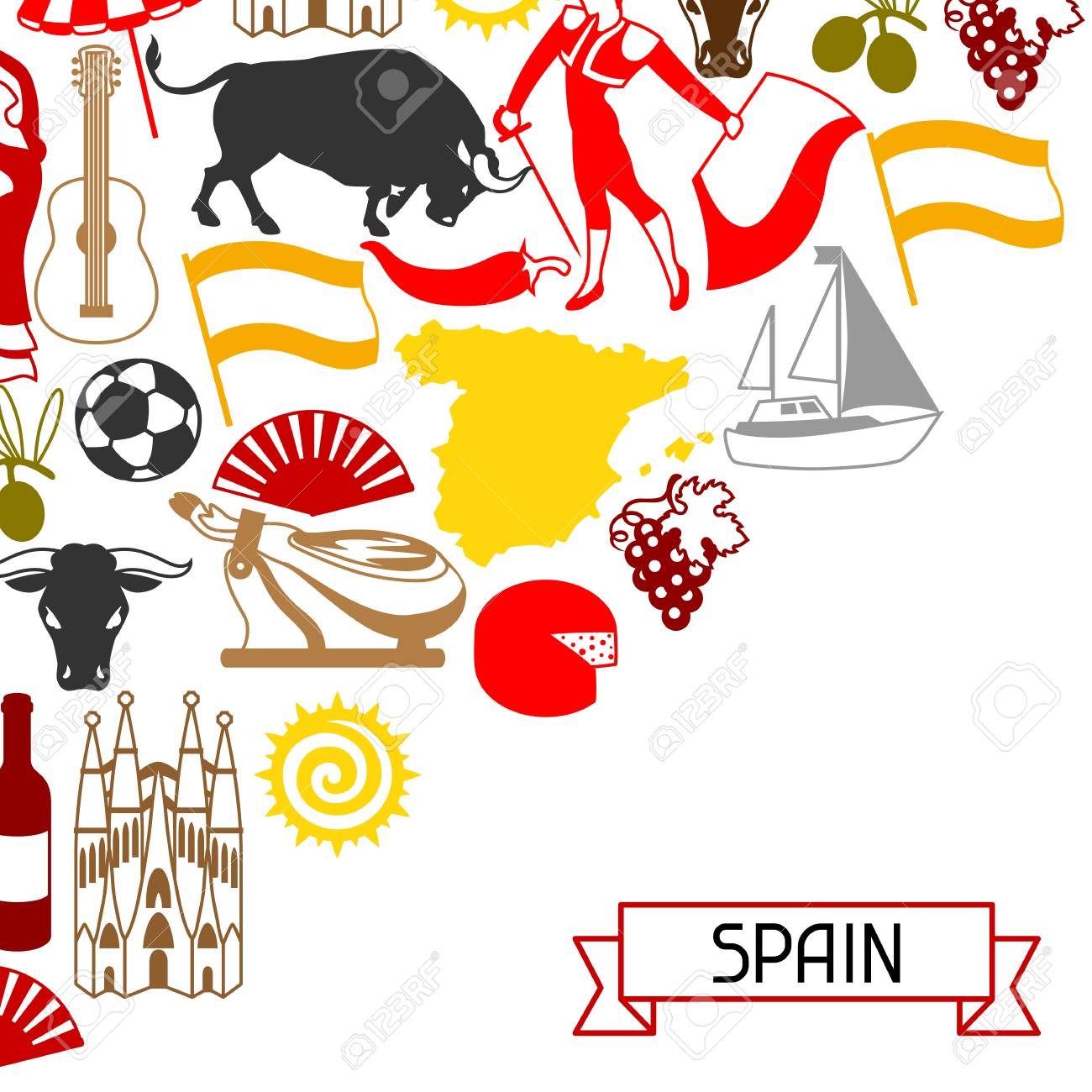 Spain background design spanish traditional symbols and objects spain background design spanish traditional symbols and objects stock vector 87904534 voltagebd Gallery