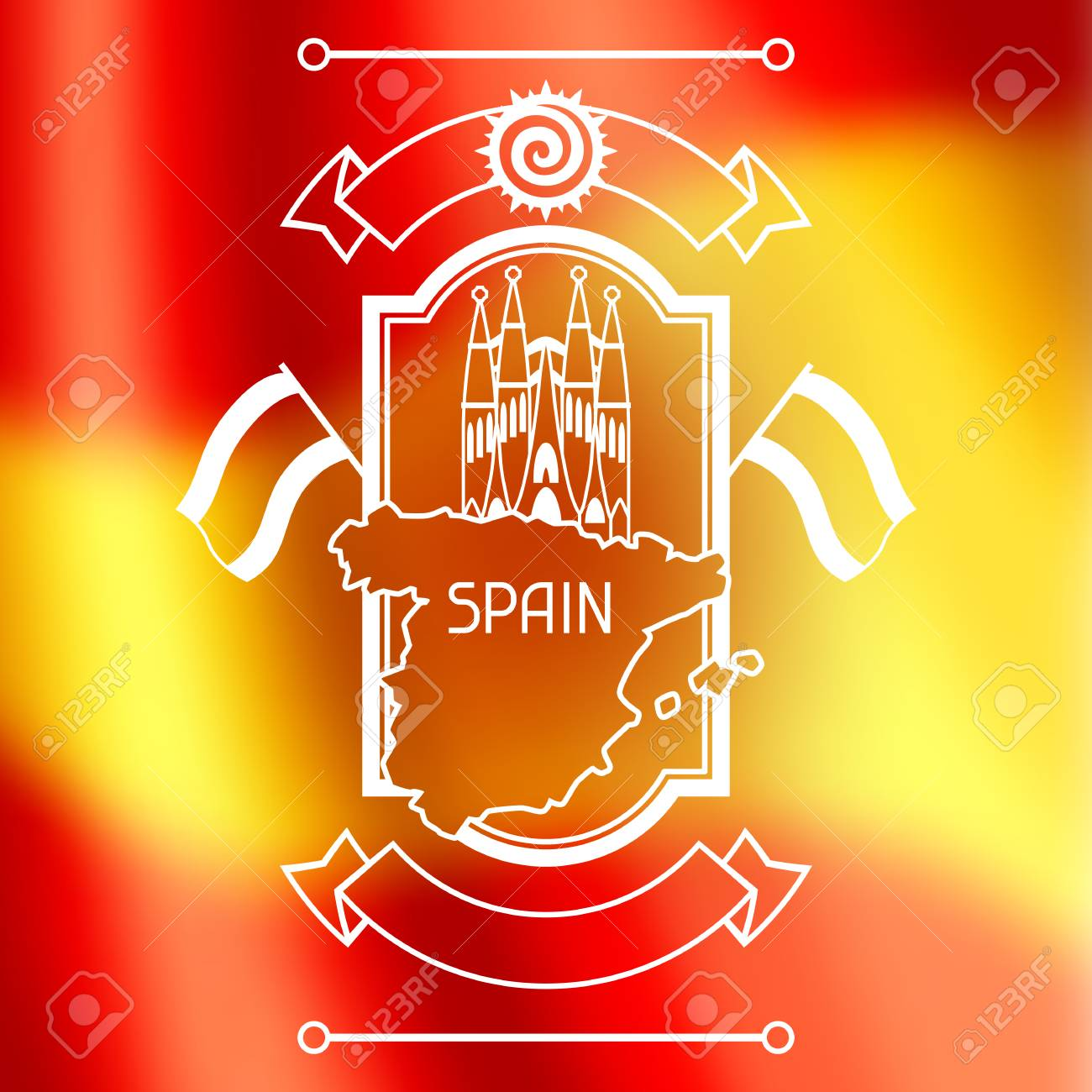 Spain background design on blurred flag spanish traditional spain background design on blurred flag spanish traditional symbols and objects stock vector voltagebd Gallery