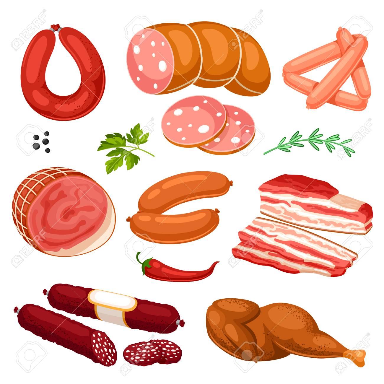 肉製品のセットですソーセージベーコンおよびハムのイラストの
