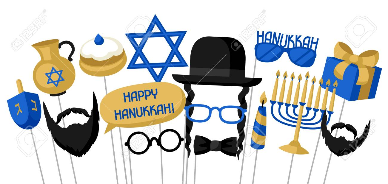 Happy Hanukkah Photo Booth Props Accessories For Festival And