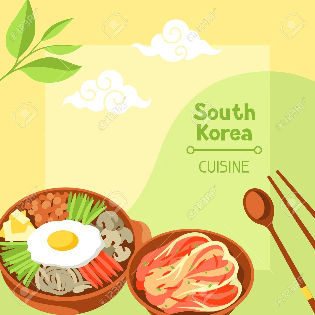 Cucina della Corea del Sud Design bandiera coreana con simboli e oggetti  tradizionali.