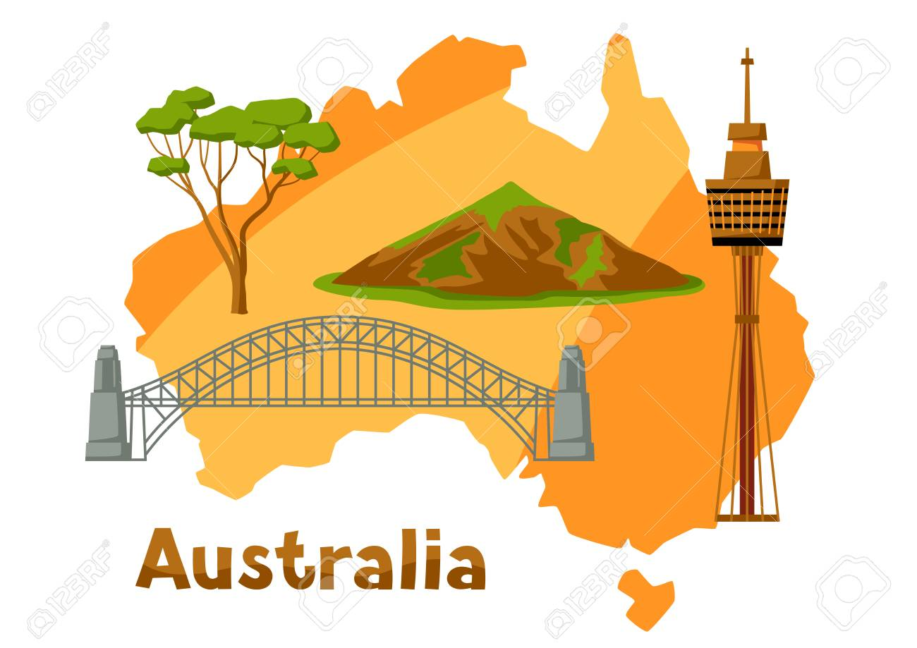 illustration of australia map with tourist attractions stock vector 91003194