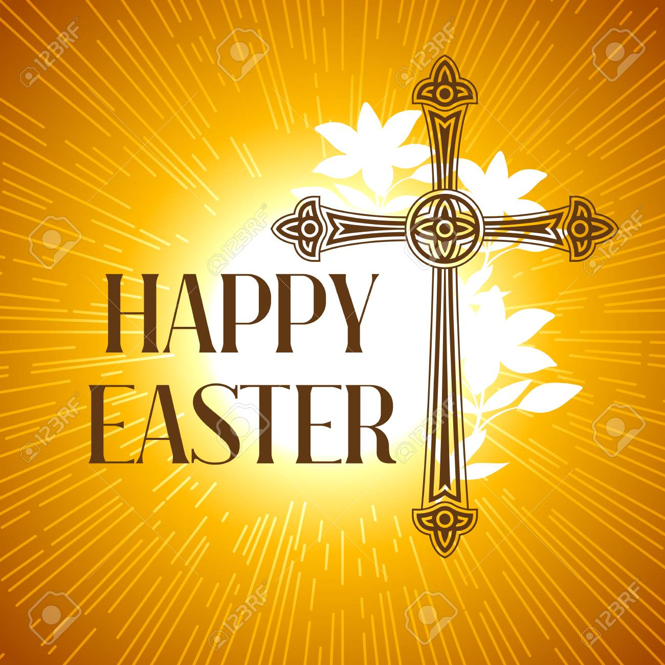Silhouette Of Ornate Cross Happy Easter Concept Illustration