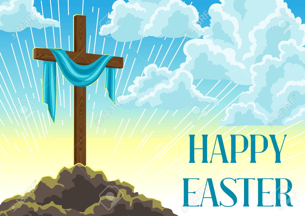 Silhouette Of Wooden Cross With Shroud. Happy Easter Concept.. Royalty Free  Cliparts, Vectors, And Stock Illustration. Image 94859746.