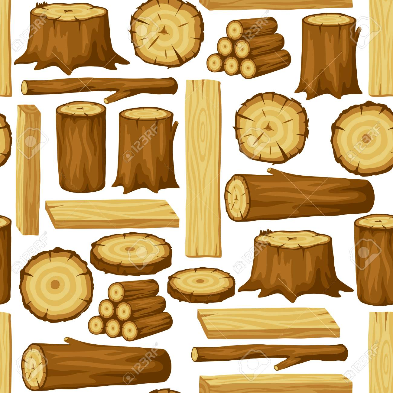 Seamless pattern with wood logs, trunks and planks. Background for forestry and lumber industry. - 97400275