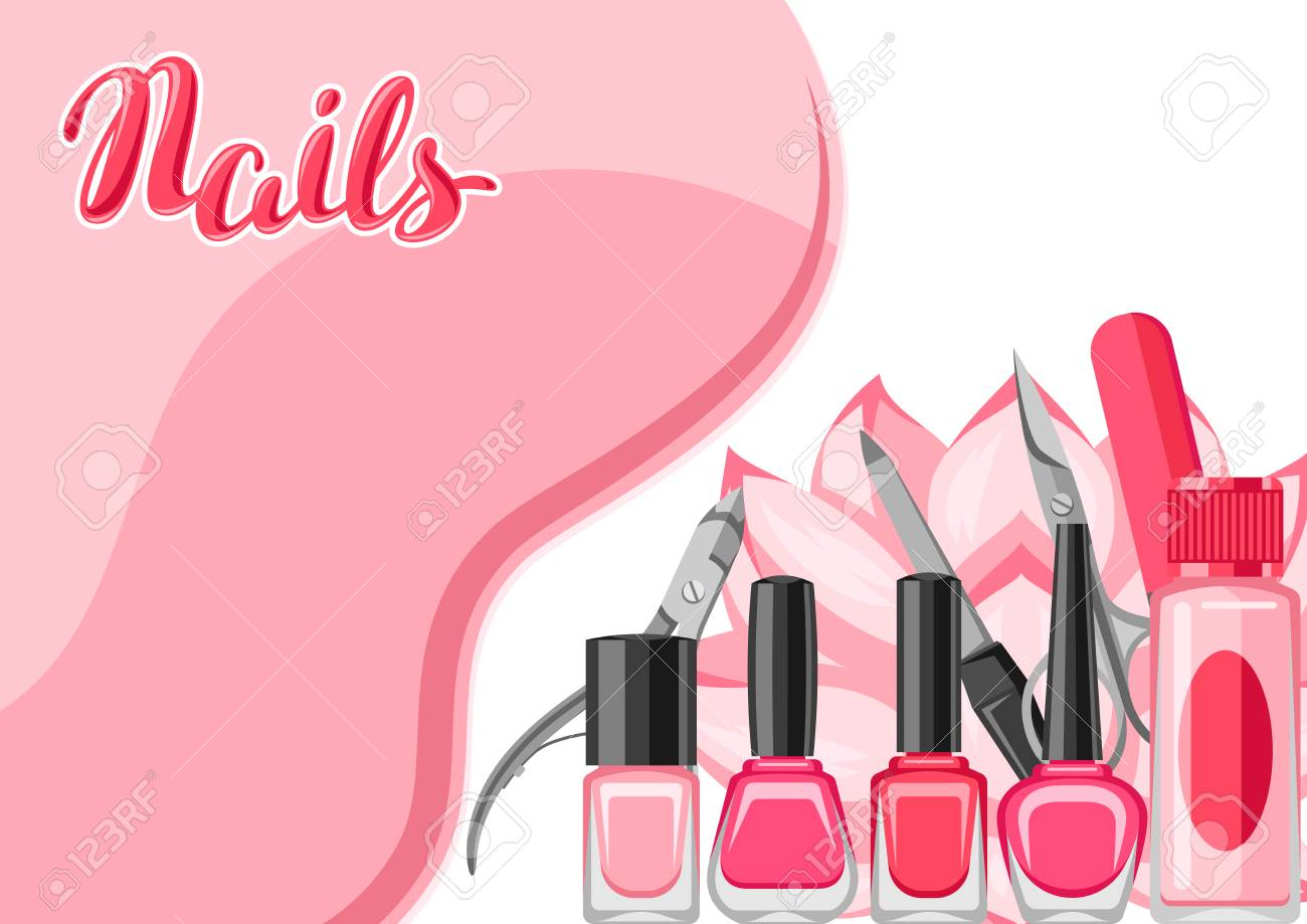 Background With Manicure Tools. Nail Polishes And Professional ...