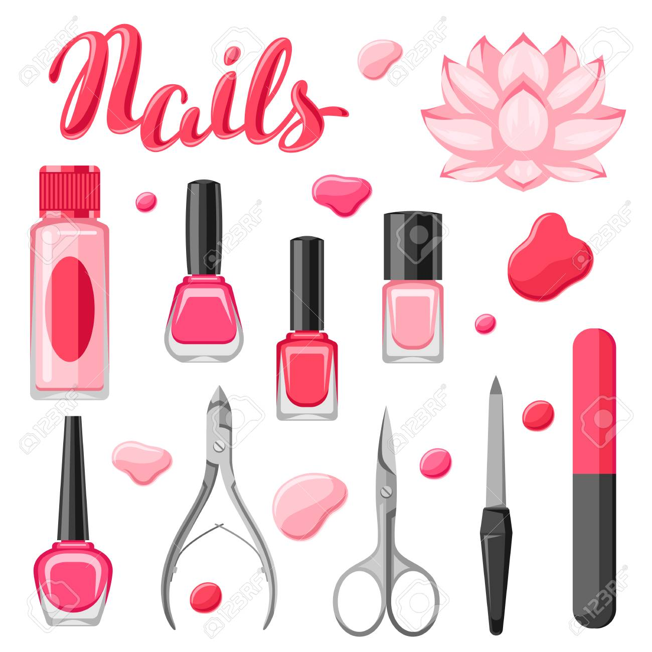 Set Of Manicure Tools. Nail Polishes And Professional Equipment ...