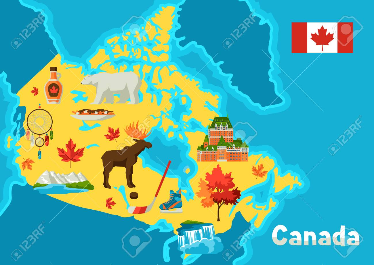 Canada Map With Symbols Illustration Of Canada Map. Canadian Traditional Symbols And