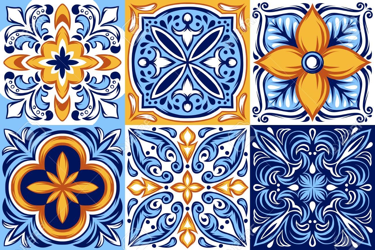 Italian ceramic tile pattern. Ethnic folk ornament. Mexican talavera, portuguese azulejo or spanish majolica. - 109728804
