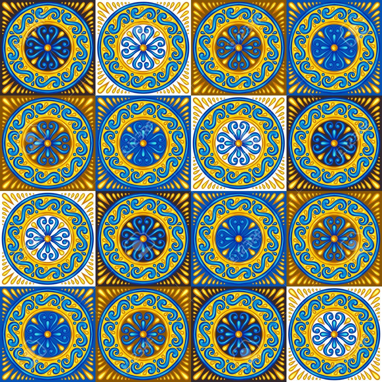 Moroccan ceramic tile seamless pattern. Ethnic floral motifs. Mediterranean traditional folk ornament. Portuguese azulejo, mexican talavera or spanish majolica. - 121747490