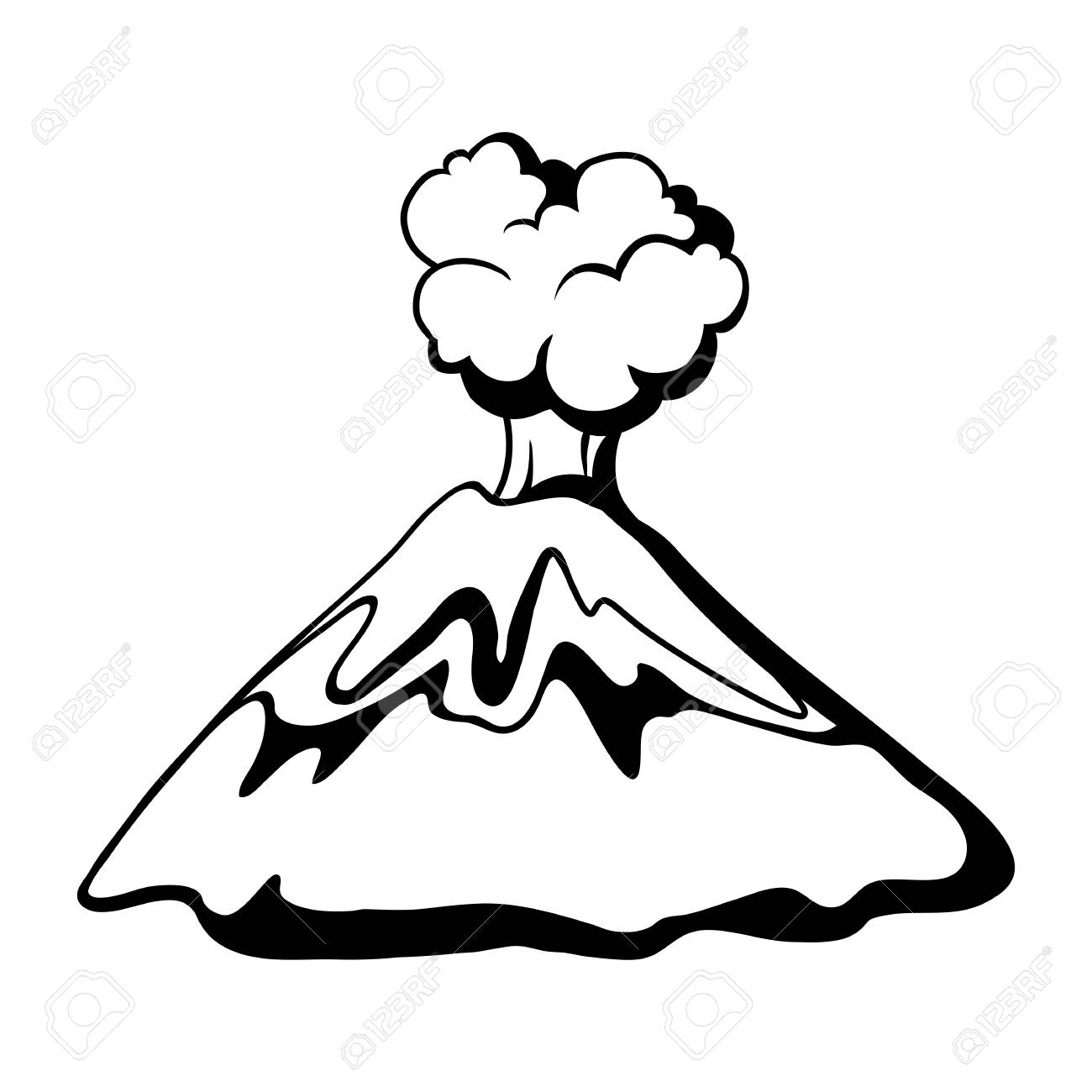 Volcano exploding nature landscape black and white illustration of mountain stock vector