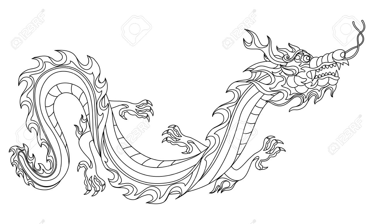Illustration of Chinese dragon. Coloring page for printing and..