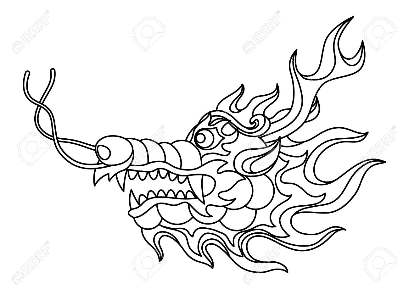 Illustration Of Chinese Dragon Head Coloring Page For Printing Royalty Free Cliparts Vectors And Stock Illustration Image 116733068