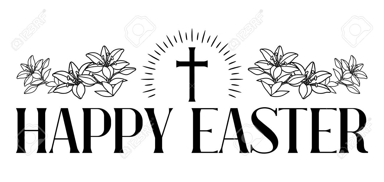 Happy Easter Concept Illustration Cross And Lilies Greeting