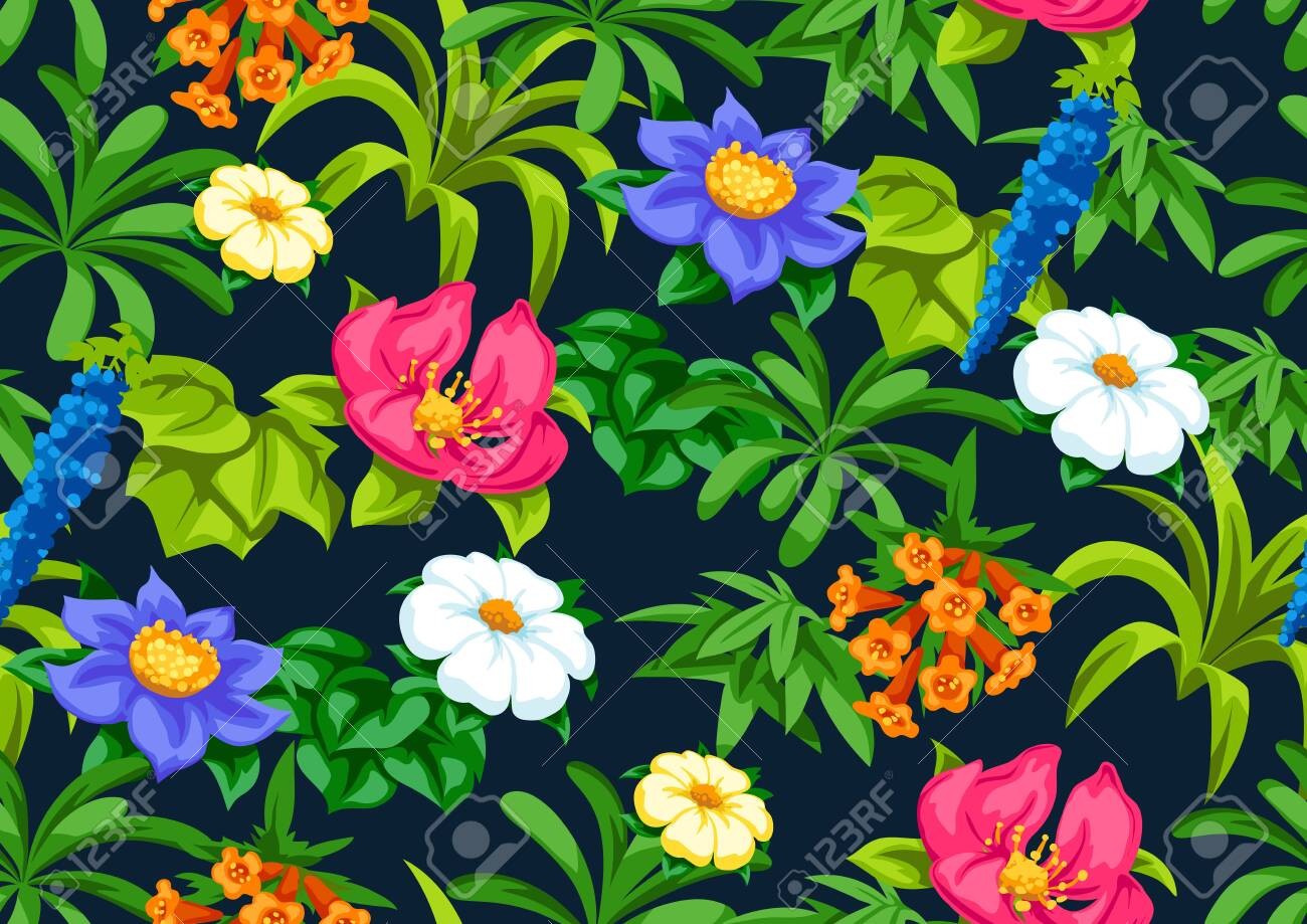 Seamless pattern with tropical flowers. Exotic tropical plants. Illustration of jungle nature. - 121748314