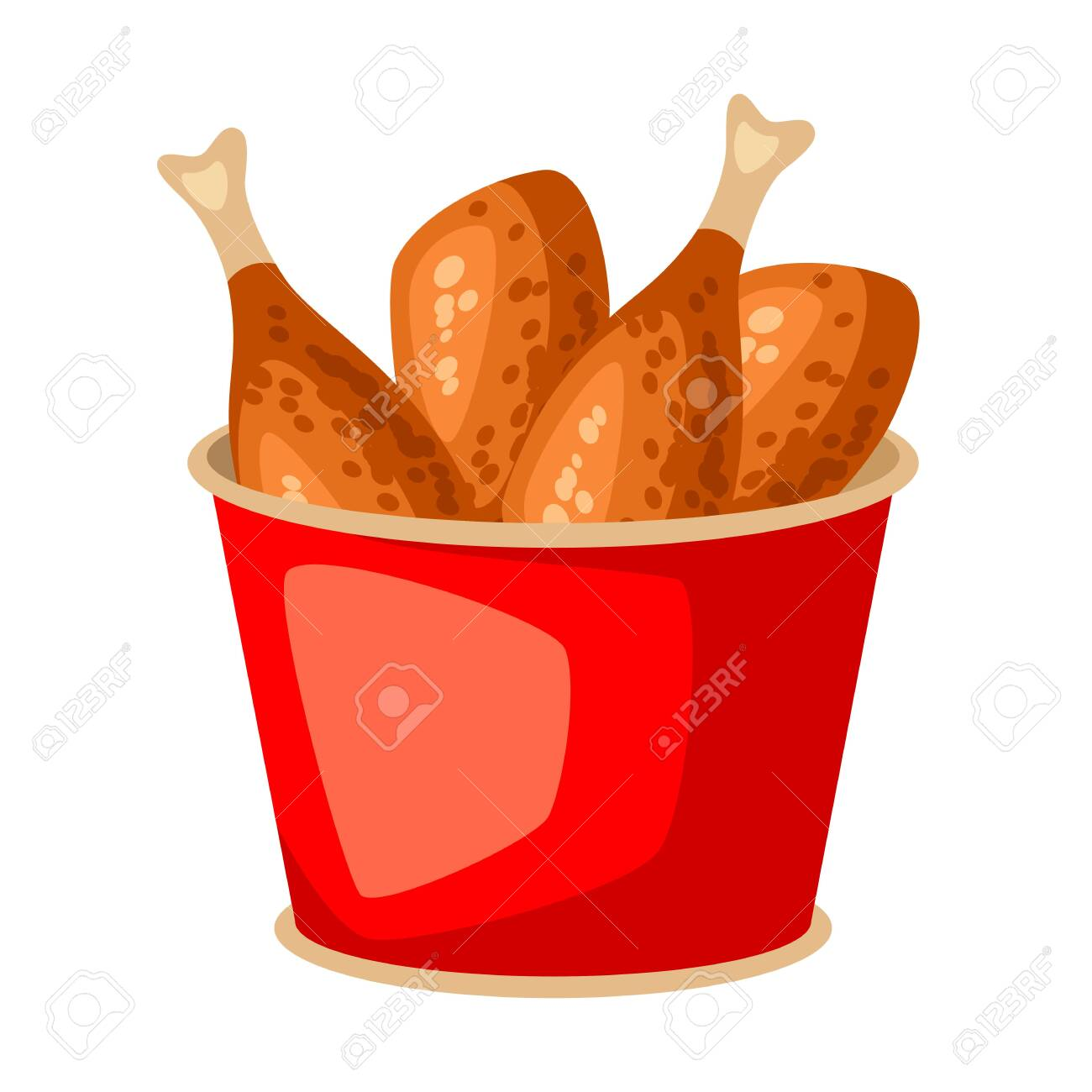 Fried Chicken In Red Bucket Fast Food Snack Icon Or Illustration Royalty Free Cliparts Vectors And Stock Illustration Image 132954035