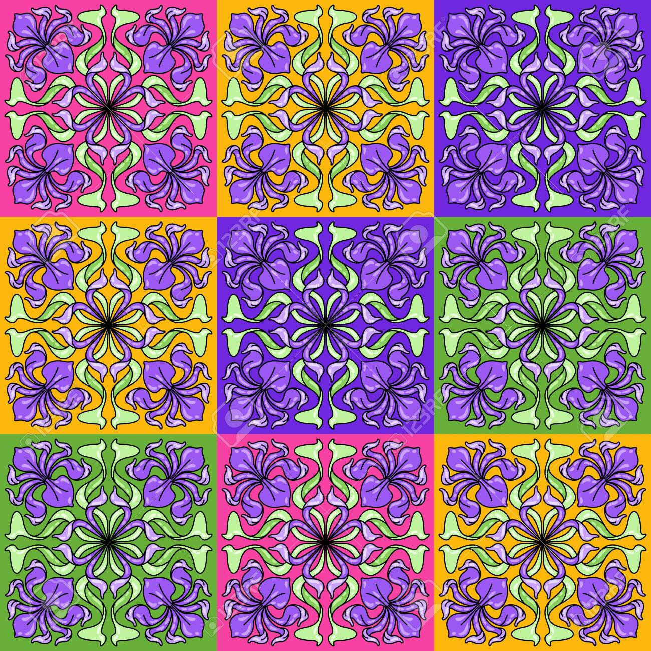 Art Nouveau ceramic tile pattern. Floral motifs in retro style. Vintage pottery with flowers and leaves. - 146728596