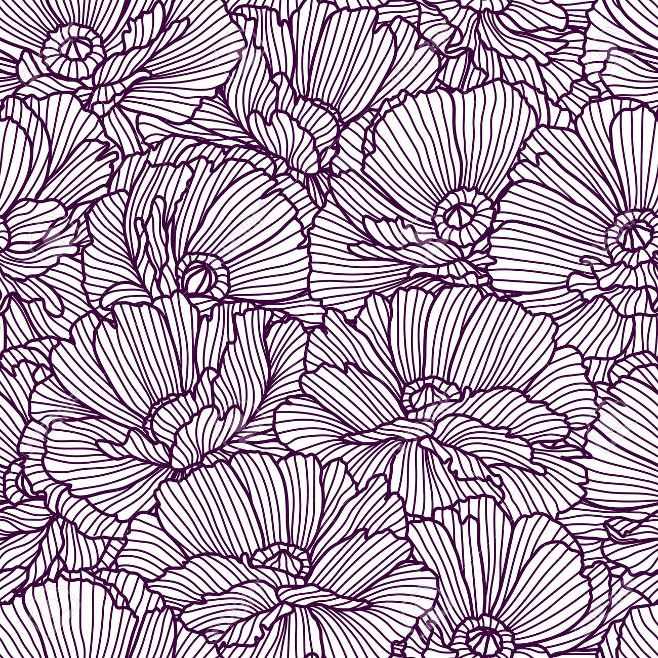 Seamless pattern with poppies. Beautiful decorative stylized summer flowers. - 158328084