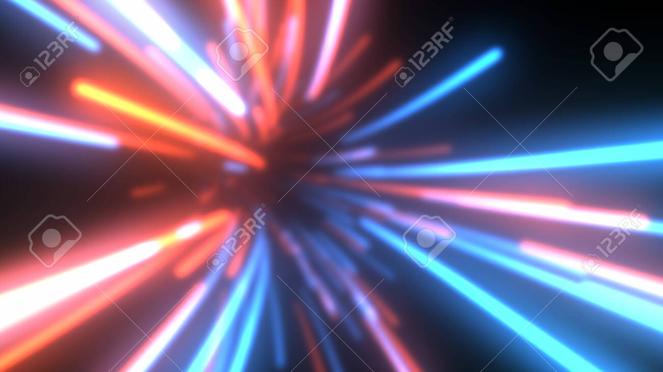 Flying in Futuristic Data Stream Technology Tunnel of Glowing Lines - Abstract Background Texture - 138350247